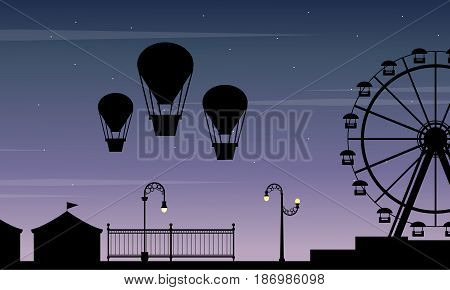 Collection stock amusement park scenery silhouette illustration