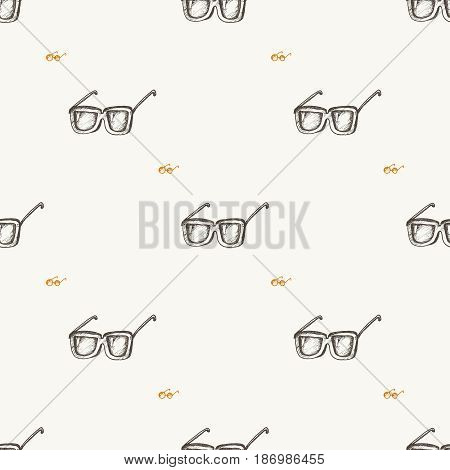 Eyeglasses seamless pattern, hand drawn doodle style vector.