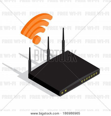 Isometric wireless router device with three antennas, wifi icon. Internet network, wifi router communication, vector illustration. Free wifi pattern background.