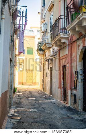 Charming street of Gallipoli in Puglia Italy