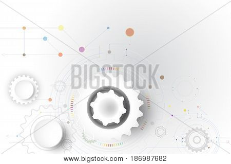 Illustration Hi-tech digital technology design gear colorful on circuit board and gear wheel engineering digital telecoms technology concept Abstract futuristic- technology on white color background and communication.