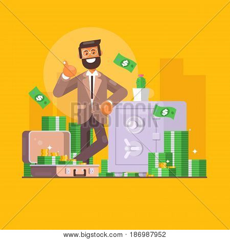 Saving money. Business finance and investment concept. Businessman character standing near safe full of money. Flat illustration
