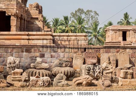 Ruins of stone carved temple of Pattadakal, Karnataka. UNESCO World Heritage site with stone carved structures of 7th and 8th-century, India.