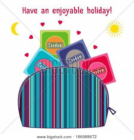 Cosmetic case cosmetic make up colorful bag with condoms