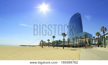 BARCELONA, SPAIN - MAY 17, 2017: Hotel W next to the Barceloneta Beach in Barcelona.