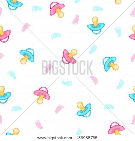 Seamless pattern from realistic pink and blue pacifiers baby foot. White background. Vector illustration.