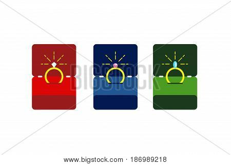 Engagement ring in box. Wedding card vector illustration