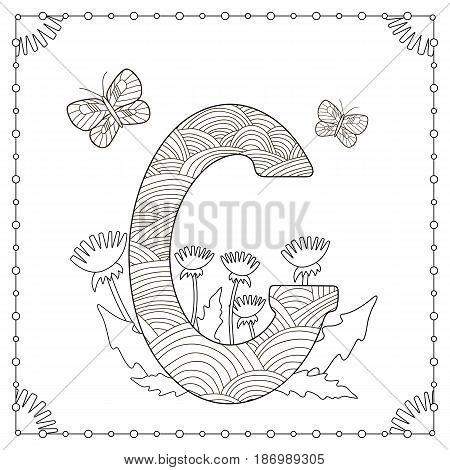 Alphabet coloring page. Capital letter