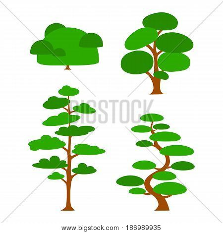 Vector flat trees on white background. Logo design illustration