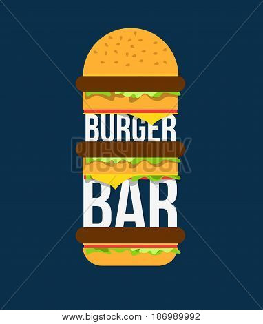 Beefburger with vegetables and meat vector illustration.