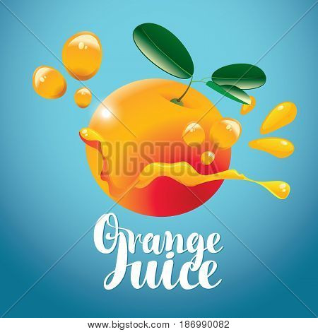 vector banner with orange fruit juice drops and inscription orange juice on blue background
