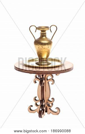 Golden Jug On Tray On Wooden Table Isolated On White