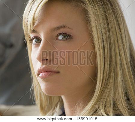 Close up of Caucasian teenage girl