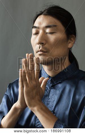 Korean man praying