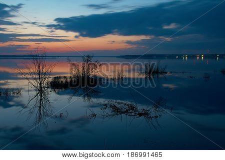 May twilight on Peno lake Tver oblast Russia