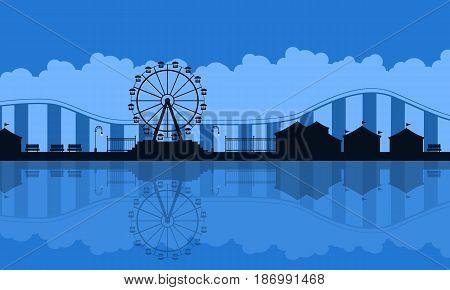 Scenery amusement park background silhouette vector art