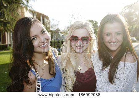 Smiling school friends