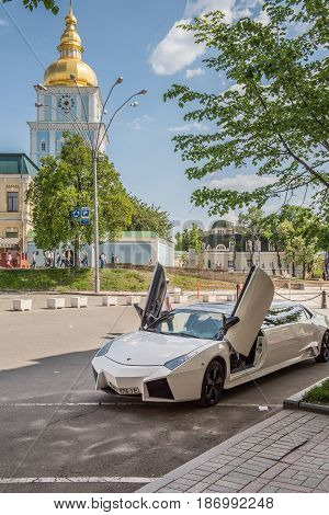 08 May 2017. A limousine lamborghini standing near the St. Michael's Golden-Domed Monastery in Kiev, Ukraine.