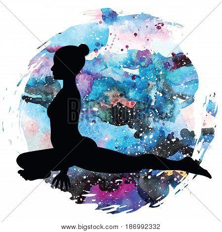 Women silhouette on galaxy astral background. Pigeon Yoga Pose. Kapotasana Vector illustration