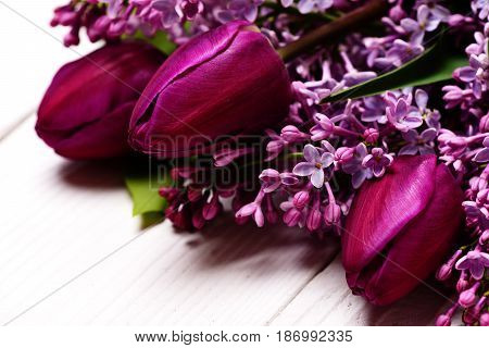 Lilac Flowers With Tulips On White