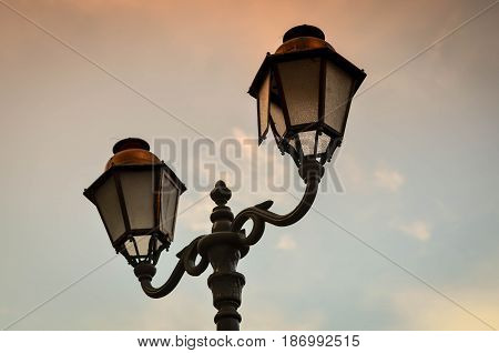 Street light in the historic village of Antibes, France