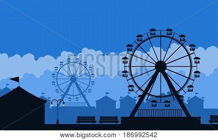 Silhouette of amusement park scenery background illustration