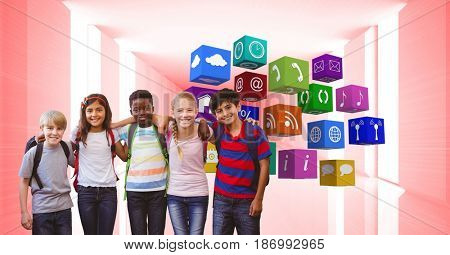 Digital composite of Happy children with arms around standing by app icons