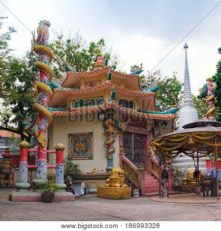 Bangkok, Thailand - January 8, 2016: Temple in Chinese style near popular street Khaosan road and Rambuttri Road district for back packer and budget tourist in Bangkok, Thailand
