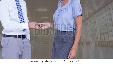 Digital composite of Midsection of business people holding money representing corruption concept
