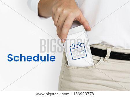 Illustration of personal organizer calendar on mobile phone