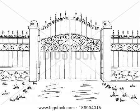 Wall fence gate graphic black white landscape sketch illustration vector