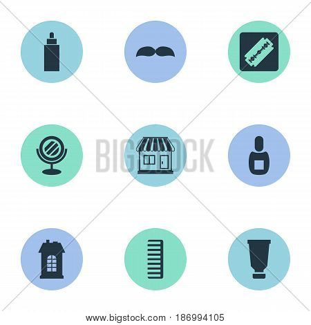 Vector Illustration Set Of Simple Beautician Icons. Elements Hackle, Peeper, Flask And Other Synonyms Supermarket, Mirror And Shop.