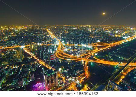 Expressway Intersection Road At Night In Bangkok City