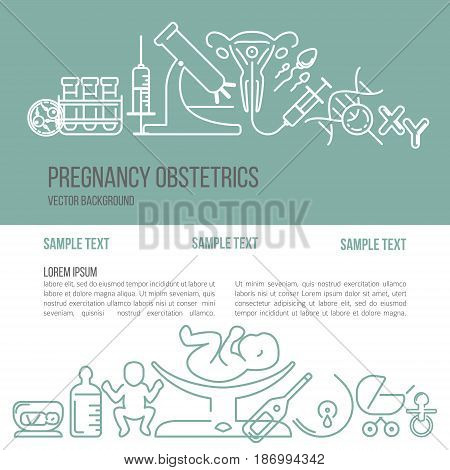 Banner template with different research symbols including ultrasound In vitro fertlization gynecological chair pregnancy test pregnant woman. Line style vector illustration with place for your text.