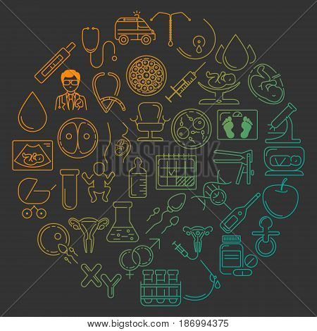 Pregnant and obstetrics concept with different obstetrics elements and other gynecological vector symbols isolated on background. Perfect illustration for flyer or banner.