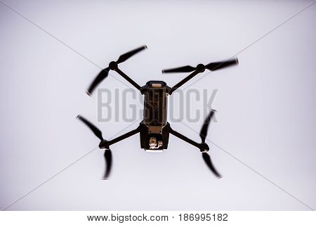 Quadrocopters With Camera During Flight In The Sky
