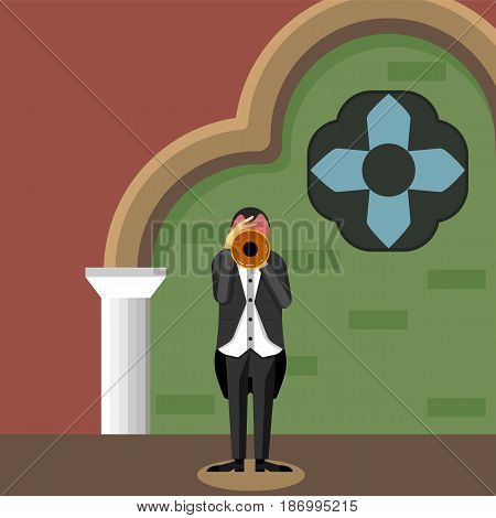 Trumpet player on a stage vector illustration