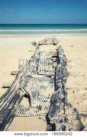 Old Abandoned Slipway On Sand Of Macao Beach