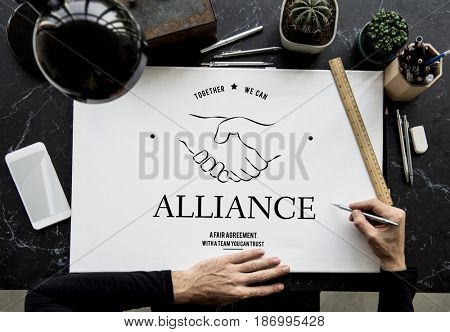 Alliance Partnership Teamwork Support Handshake Graphic