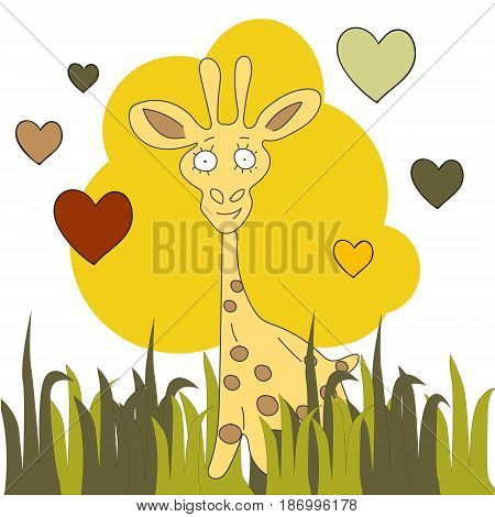 Cute hand drawn card, postcard with giraffe, stars, planet, galaxy, comet, alien ship meteorite hearts