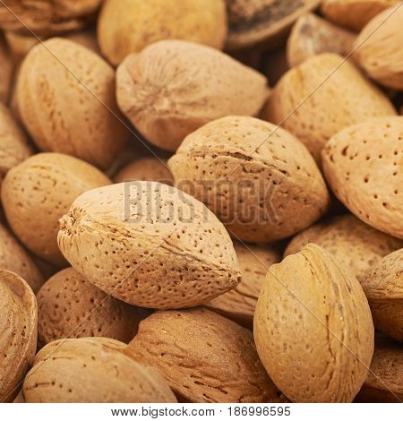 Close-up crop of a surface coated with the almond nuts as a food backdrop composition with a shallow depth of field