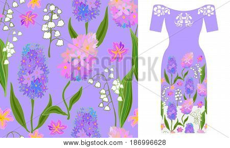 Seamless vector pattern with hyacinths and lilies of the valley. Summer textile collection.