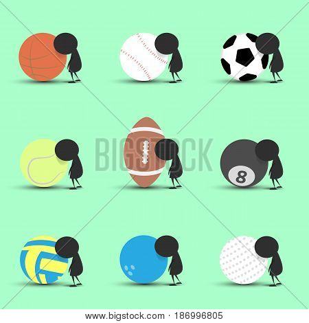 Black man character cartoon sad and recline to sports ball with green background. Flat graphic. logo design. sports cartoon. sports balls vector. illustration.