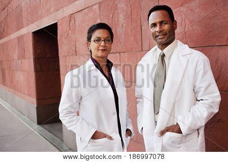 Doctors standing outdoors