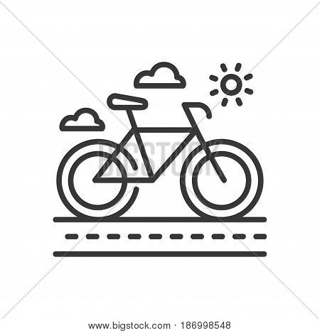 Bicycle - modern vector single line icon. An image of a city bike on a track, sun and clouds on the background. Representation of sport, activity, health lifestyle, cycling.
