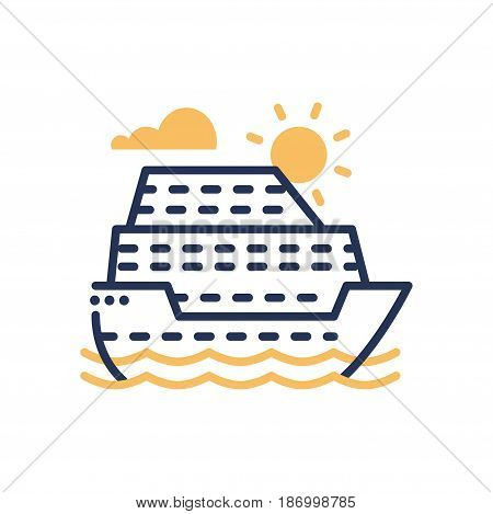 Passenger Ship - modern vector single line icon. An image of a liner in the sea, ocean, sun, clouds, water. Representation of travel, journey, vacation, rest, good time, fun.