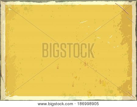 Vintage blank metal sign for text or graphics. Vector retro empty background. Yellow color