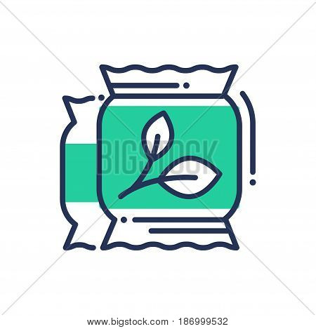 Eco Fertilization - modern vector single line icon. An image of a two green bags of fertilizer, improve your soil, get better produce. Representation of health, better tomorrow, knowledge.