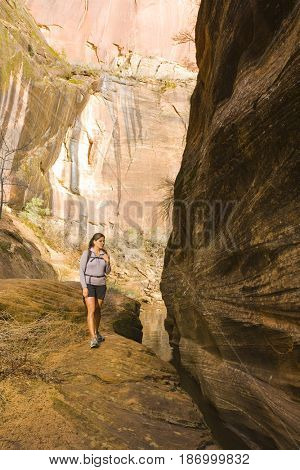 Persian woman hiking near canyon stream