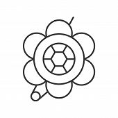 Brooch linear icon. Thin line illustration. Flower shape brooch contour symbol. Vector isolated outline drawing poster